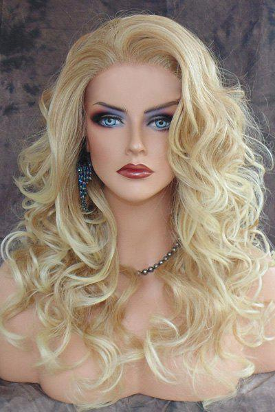 Charming Blonde Heat Resistant Synthetic Shaggy Curly Long Capless Wig For Women graceful shaggy long heat resistant synthetic wave capless middle part universal wig for women