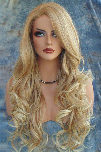 Shaggy Wavy Capless Light Brown Synthetic Charming Long Side Bang Wig For Women  free shipping nude blyth doll brown wavy wig doll toys for girls