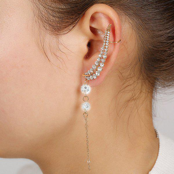 ONE PIECE Rhinestoned Leaf Ear Cuff - GOLDEN