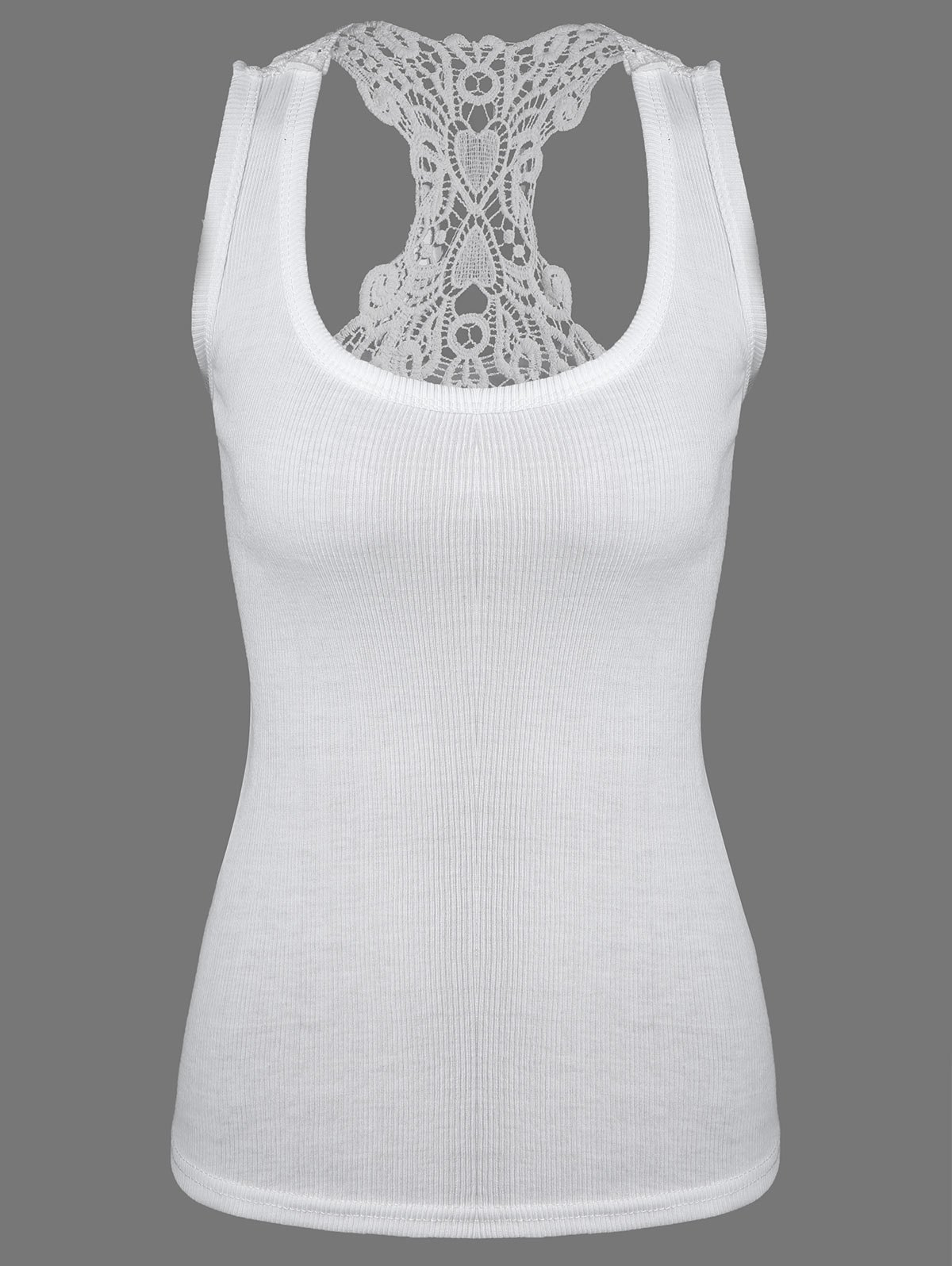 Lace Panel Racerback Tank Top - WHITE ONE SIZE