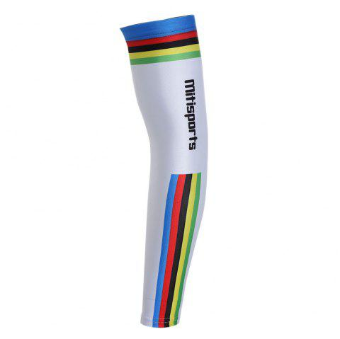 Lettern Striped Pattern Cycling Arm Sleeves - WHITE 3XL