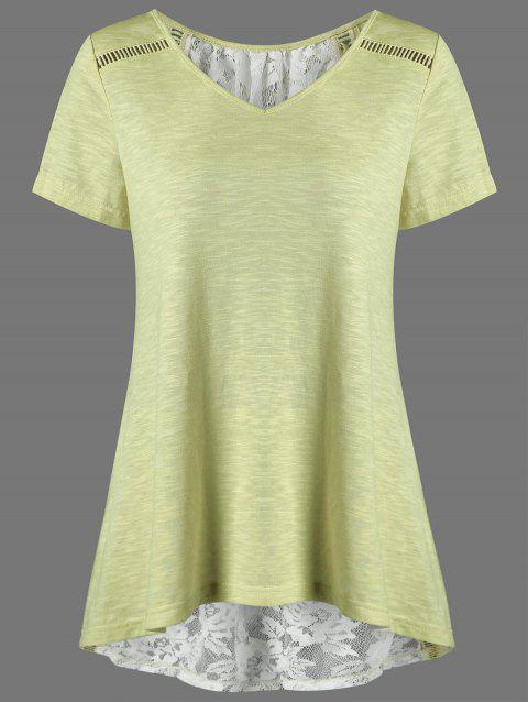 V Neck Floral High Low Hem Lace Back T-Shirt - YELLOW M