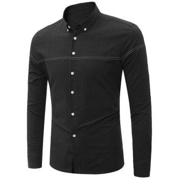 Long Sleeve Stitching Button Down Shirt