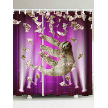 Waterproof Funny Sloth And Dollars Shower Curtain