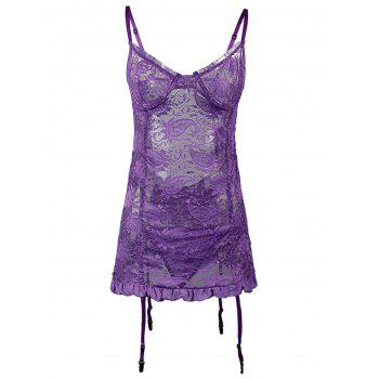 Open Back Lace Plus Size Babydoll
