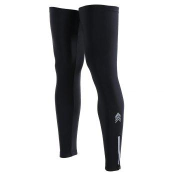 Reflective Zipper Cycling Leg Sleeves - BLACK 3XL