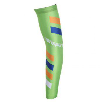 Striped Antislip Cycling Arm Sleeves - GREEN L
