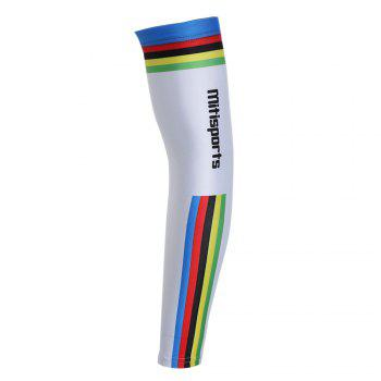 Lettern Striped Pattern Cycling Arm Sleeves - WHITE S