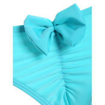 Bowknot Back Hipster Scrunch Bikini Bottom - CYAN M