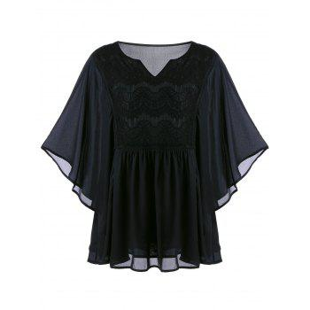 Plus Size Lace Insert Bell Sleeve Blouse