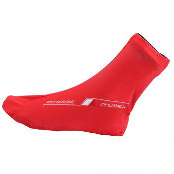 Zipper Letter Pattern Cycling Shoe Covers - RED L