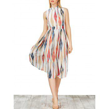 High Neck Chiffon Printed Dress