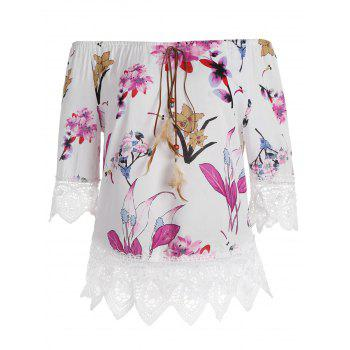 Lace Insert Off The Shoulder Floral Top