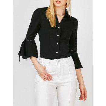 Button Up Bell Sleeve Blouse