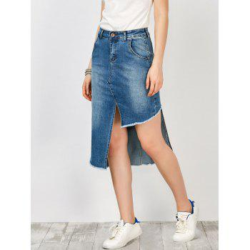 High Waisted Asymmetrical Denim Skirt With Pockets