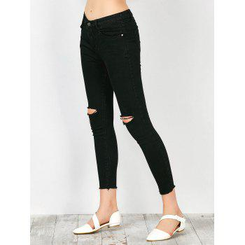 Distressed Frayed Hem Jeans - BLACK L