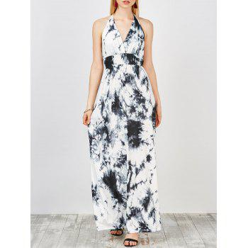 Empire Waist Backless Tie Dye Dress