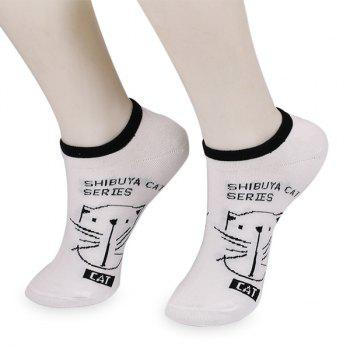 Cat Letters Pattern Knit Ankle Socks - WHITE WHITE