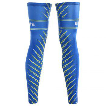 Striped Polka Dot Zipper Reflective Cycling Leg Sleeves - BLUE 3XL
