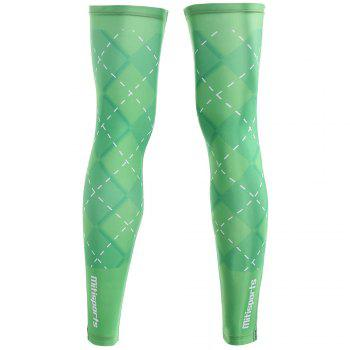 Geometric Reflective Zipper Cycling Leg Sleeves - GREEN GREEN