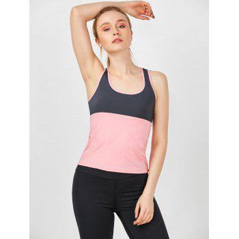 Two Tone U Neck Running Athletic Vest - PINK XL
