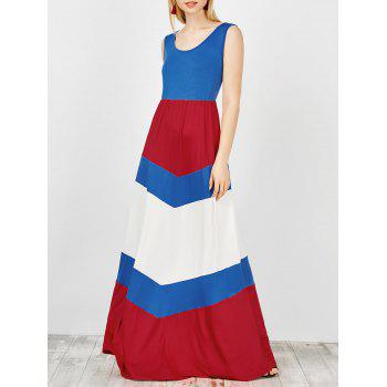U Neck Color Block Maxi Tank Dress