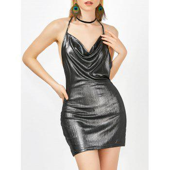 Halter Cowl Neck Open Back Bodycon Mini Metallic Club Dress
