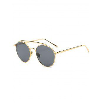 Metallic Long Crossbar Mirrored Sunglasses