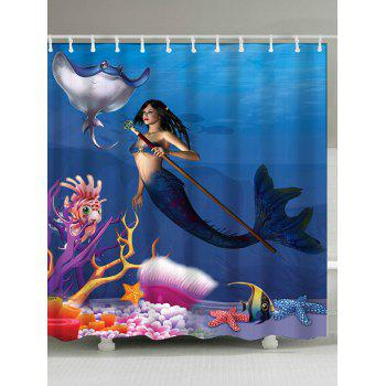 Sea World Mermaid Printed Shower Curtain
