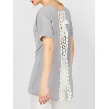 Cuffed Sleeve Asymmetrical Crochet Lace Insert Blouse