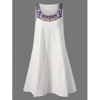 Embroidered Sleeveless Casual Summer Dress