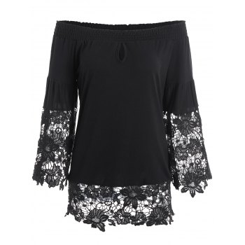 Lace Insert Off The Shoulder Keyhole Blouse
