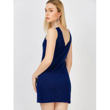 Lace Crochet Insert Mini Bodycon Tank Dress - DEEP BLUE M