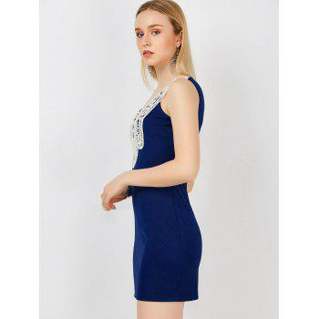 Lace Crochet Insert Mini Bodycon Tank Dress - DEEP BLUE L