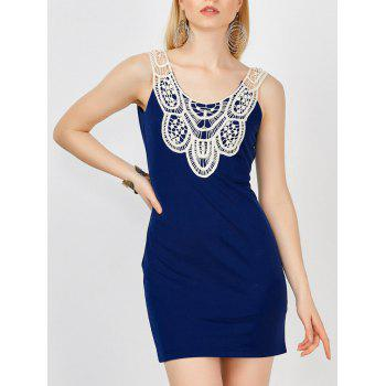 Lace Crochet Insert Mini Bodycon Tank Dress