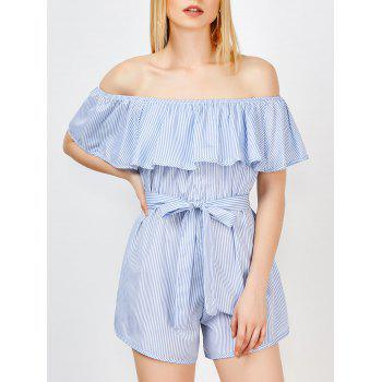 Off The Shoulder Ruffle Stripe Pants Romper