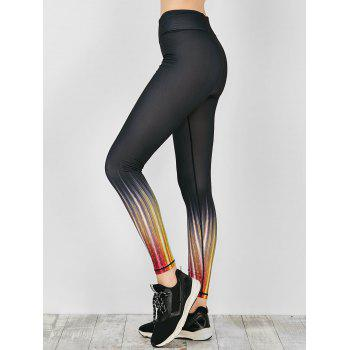 Colored Ombre Fitness Leggings - BLACK M