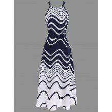 Halter Ripple Print Chiffon Tea Length Dress
