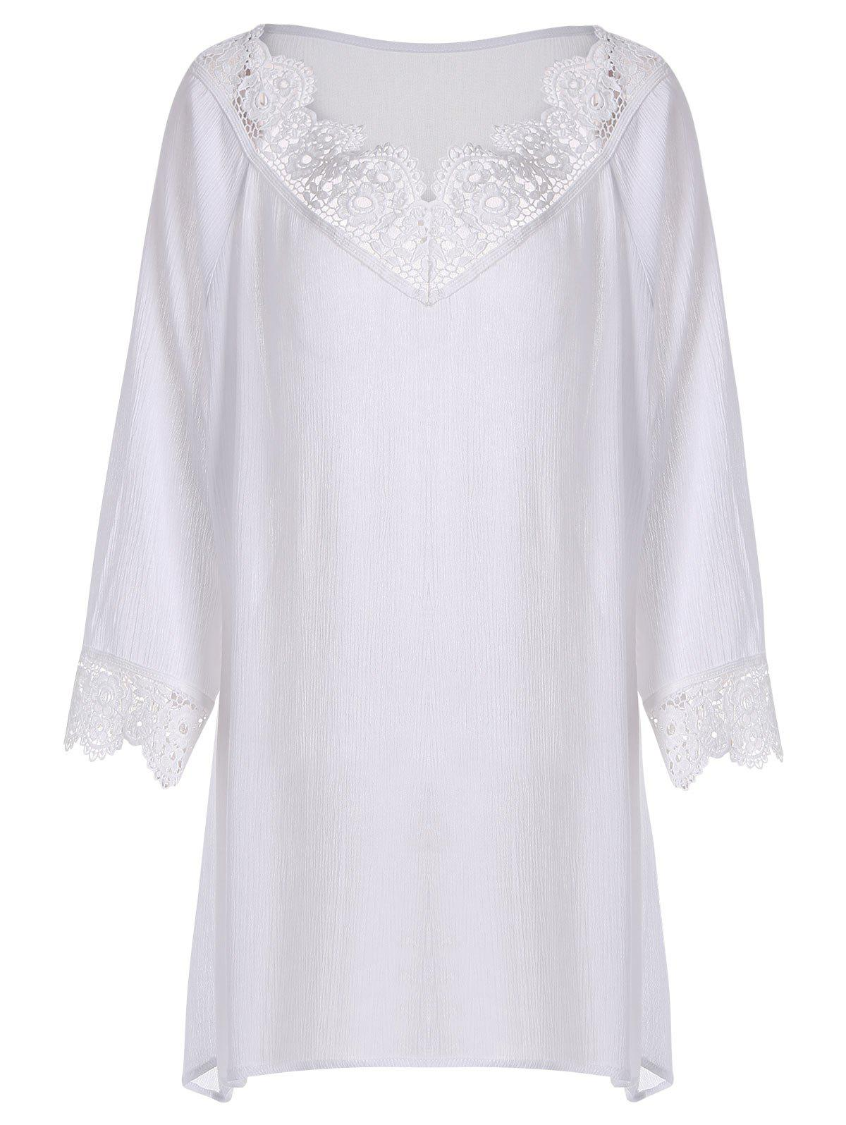 Plus Size Crinkle Lace Crochet Trim Peasant Blouse насос sks diago white 10504 10504sks