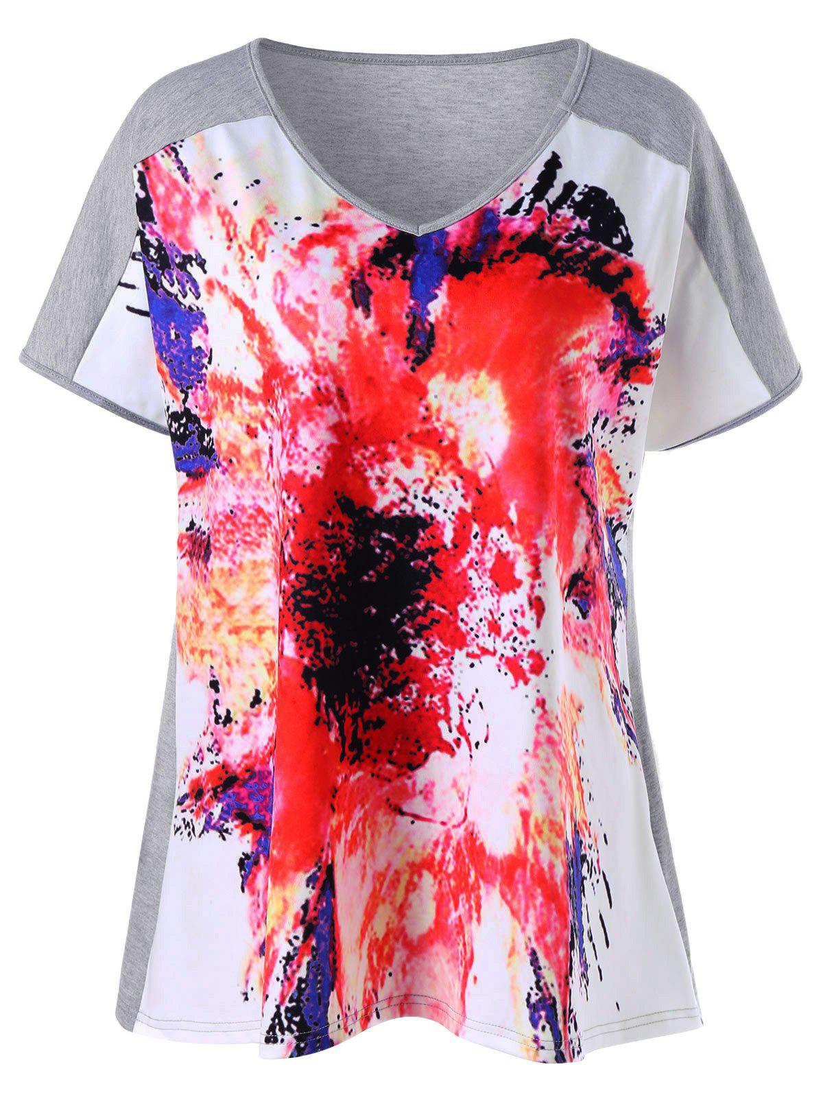 Plus Size V Neck Tie Dye T-Shirt от Dresslily.com INT