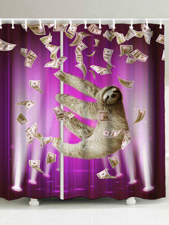 Waterproof Funny Sloth And Dollars Shower Curtain   PURPLE W71 INCH * L79  INCH