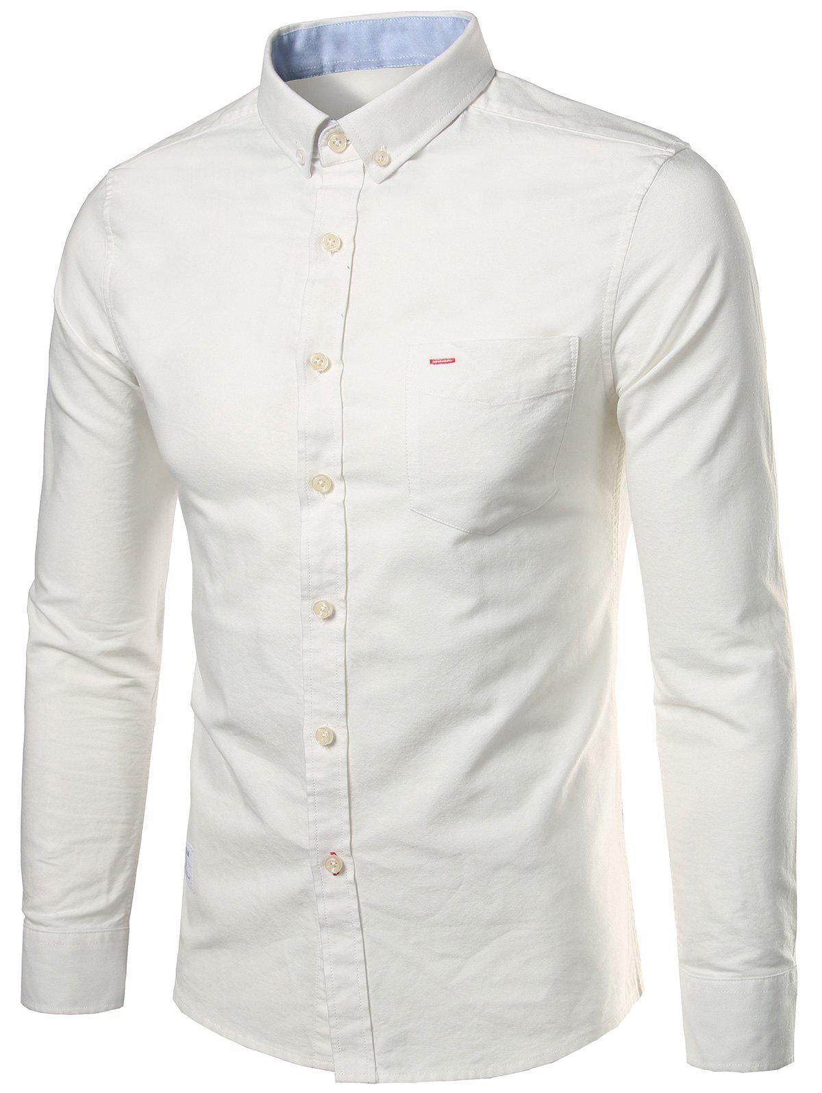 Long Sleeves Pocket Button Down Shirt - OFF WHITE XL