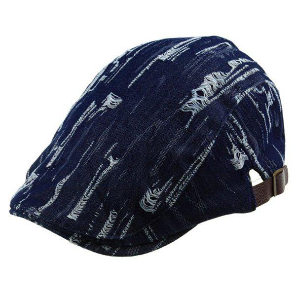Fraying  Denim Newsboy Hat - DEEP BLUE ONE SIZE