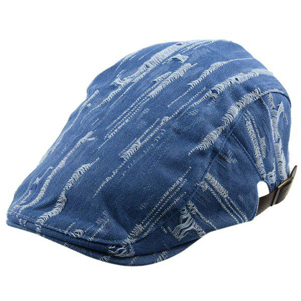 Fraying  Denim Newsboy Hat - LIGHT BLUE ONE SIZE