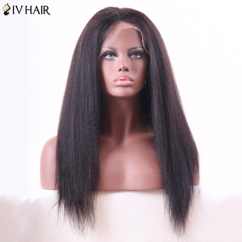 Siv Hair Long Lace Frontal Human Hair Yaki Straight Wig - NATURAL COLOR 20INCH