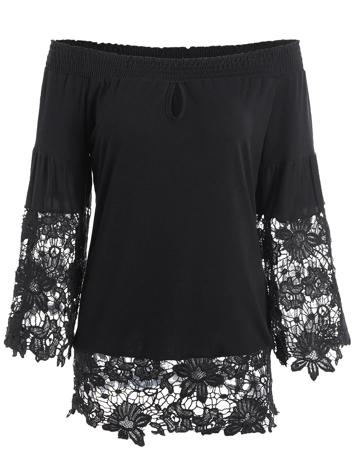 Lace Insert Off The Shoulder Keyhole Blouse от Dresslily.com INT