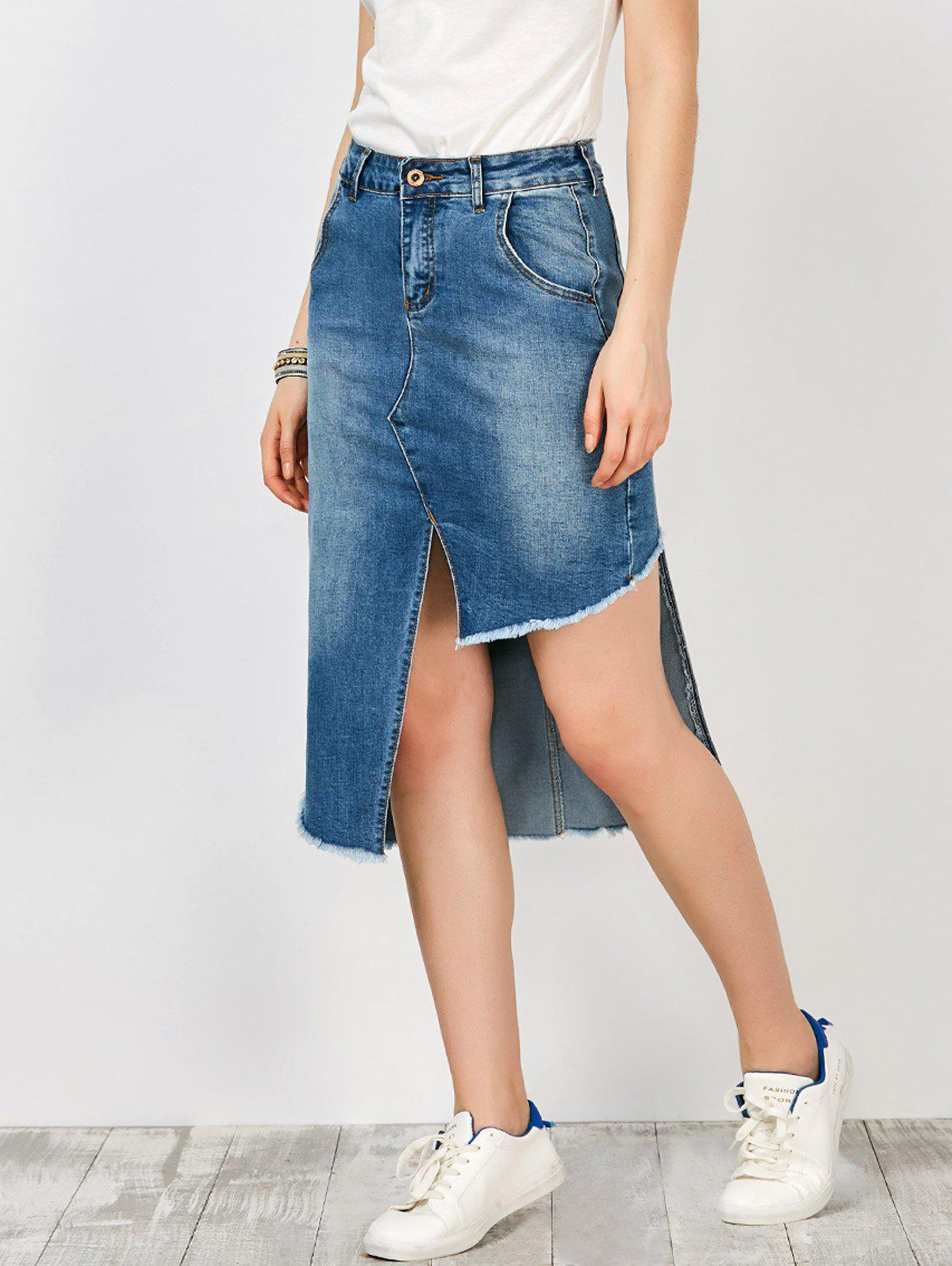 high waisted asymmetrical denim skirt with pockets blue