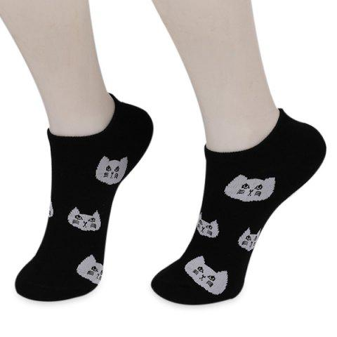 Cats Heads Kintting Ankle Socks - BLACK