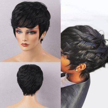 Short Texture Curly Layered Haircut Capless Human Hair Wig