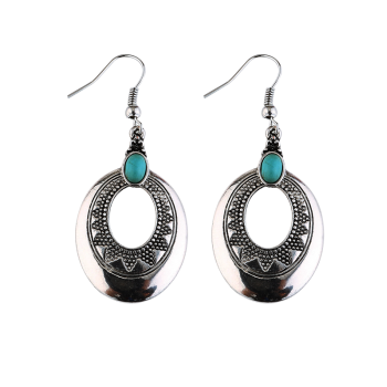 Boho Faux Turquoise Carved Oval Hook Earrings